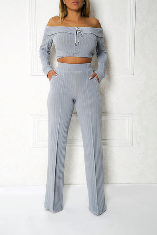 Gem High-Waist Ribbed Trousers