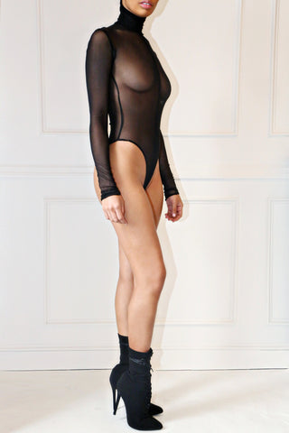 Sheer Split Bodysuit