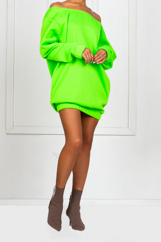 Neon Off The Shoulder Sweater Dress
