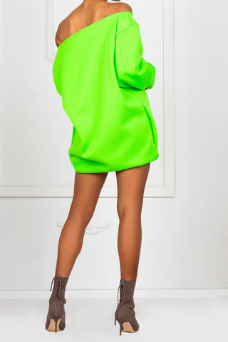 Neon Off The Shoulder Fleece Dress