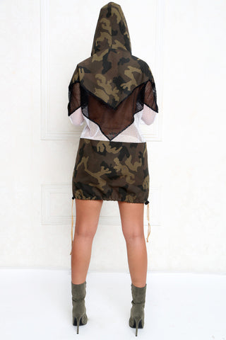 Utilitarian Camouflage Mesh Windbreaker Dress