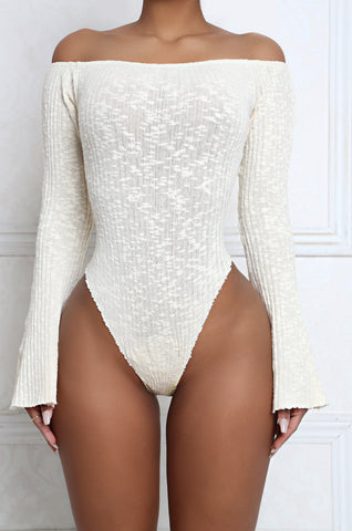 Frill Off The Shoulder Bell Sleeve Ribbed Bodysuit pre-order