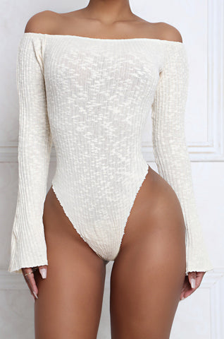 Frill Off The Shoulder Bell Sleeve Ribbed Bodysuit