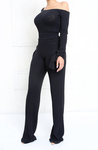 Gypsy Off The Shoulder Textured Ribbed Knit Jumpsuit
