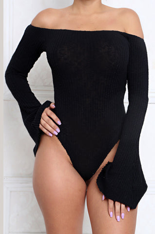 Frill Off The Shoulder Bell Sleeve Rib Knit Bodysuit pre-order