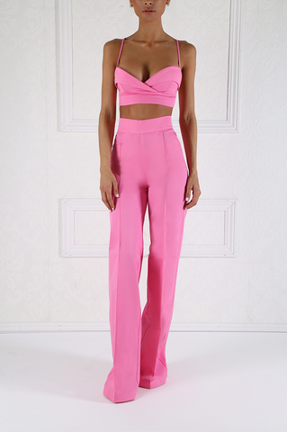 Rich Pink High Waist Pleated Pants