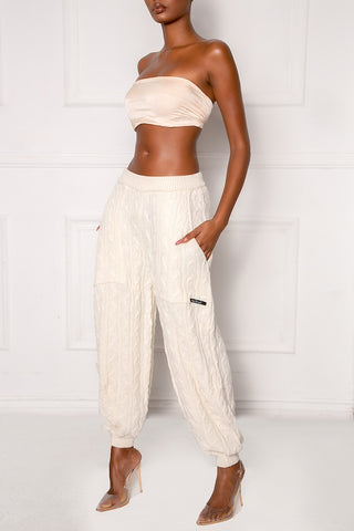 Cream Boom Cable Knit Trousers