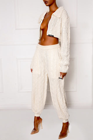Cream C3 Cropped Cable Knit Blazer
