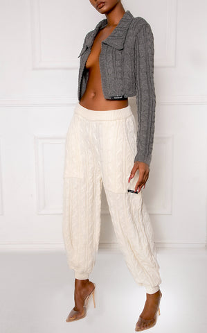 Gray C3 Cropped Cable Knit Blazer