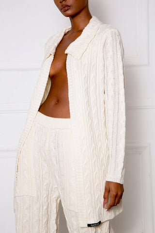 Cream B1 Longline Cable Knit Blazer