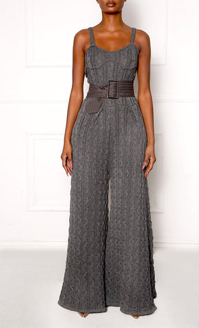 Gray R7 Cable Knit Belted Jumpsuit