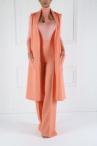 Sunrise Peach Cutout Turtleneck Bodysuit