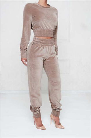 Café Au Lait Velour High Waist Track Pants
