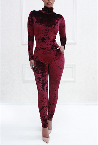 Black Rosé Crushed Velvet Turtleneck Jumpsuit