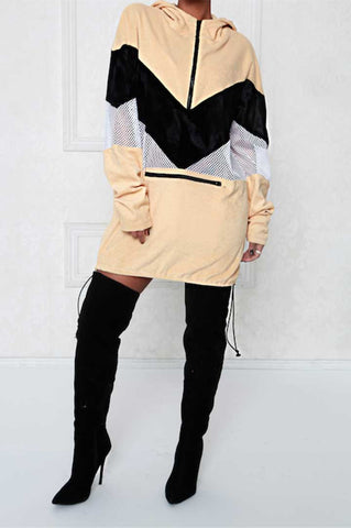 Vintage Color Block Windbreaker Dress