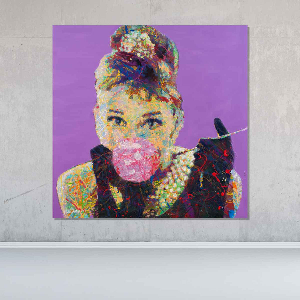 Spencer Couture Original Bubble Gum Audrey Hepburn Pop Art Painting Splatter Technique 36x36 Purple Clayboard