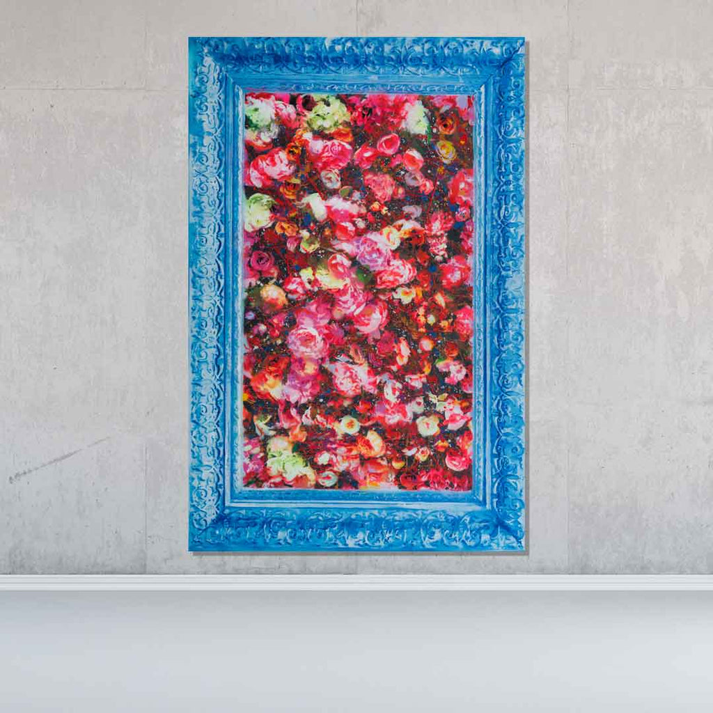 Spencer Couture Original Smell the Roses Pop Art Painting Spray Paint Acrylic Canvas 48x60 Blue