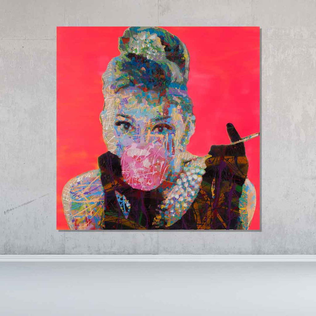 Spencer Couture Original Bubble Gum Audrey Hepburn Pop Art Painting Splatter Technique 36x36 Pink