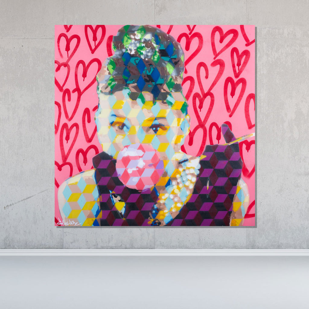 Spencer Couture Original Bubble Gum Audrey Hepburn Pop Art Painting Splatter Technique 36x36 Pink Hearts Wood