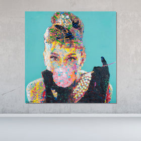 Spencer Couture Original Bubble Gum Audrey Hepburn Pop Art Painting Splatter Technique 36x36 Teal Wood