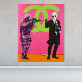 Spencer Couture Original Chill Louis Vuitton Fashion Pop Art Painting 56x69 Pink