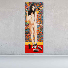 Sneaker Girl Original Painting On Wood - Originals - Spencer Couture Art