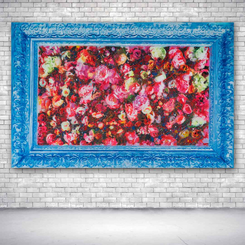 Spencer Couture Limited Edition Smell The Roses Pop Art Canvas Print 30x48 Blue