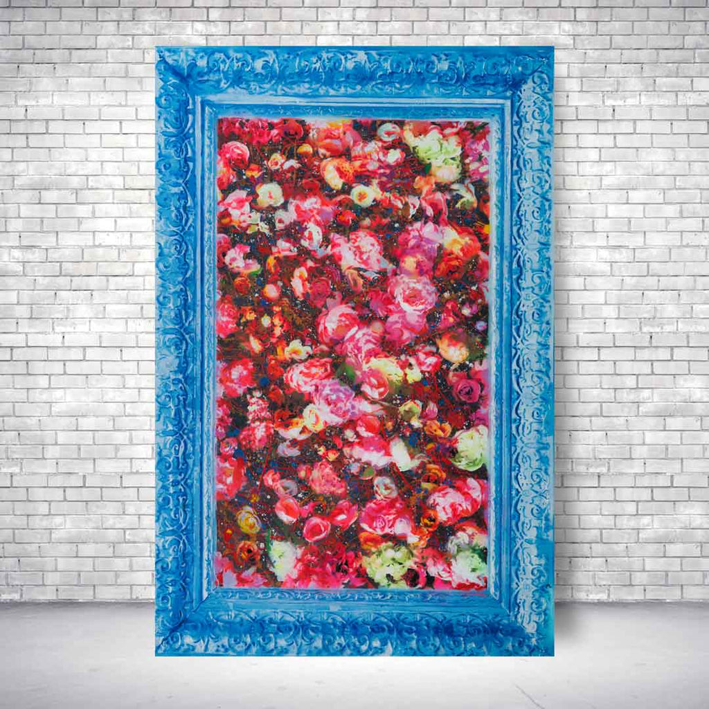 Spencer Couture Limited Edition Smell The Roses Pop Art Canvas Print 24x36 Blue