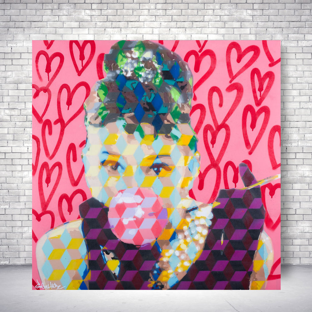 Spencer Couture Limited Edition Bubble Gum Audrey Hepburn Pop Art Canvas Print Hearts