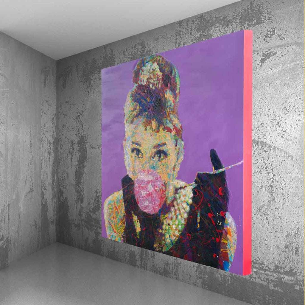 Spencer Couture Limited Edition Bubble Gum Audrey Hepburn Pop Art Canvas Print 36x36