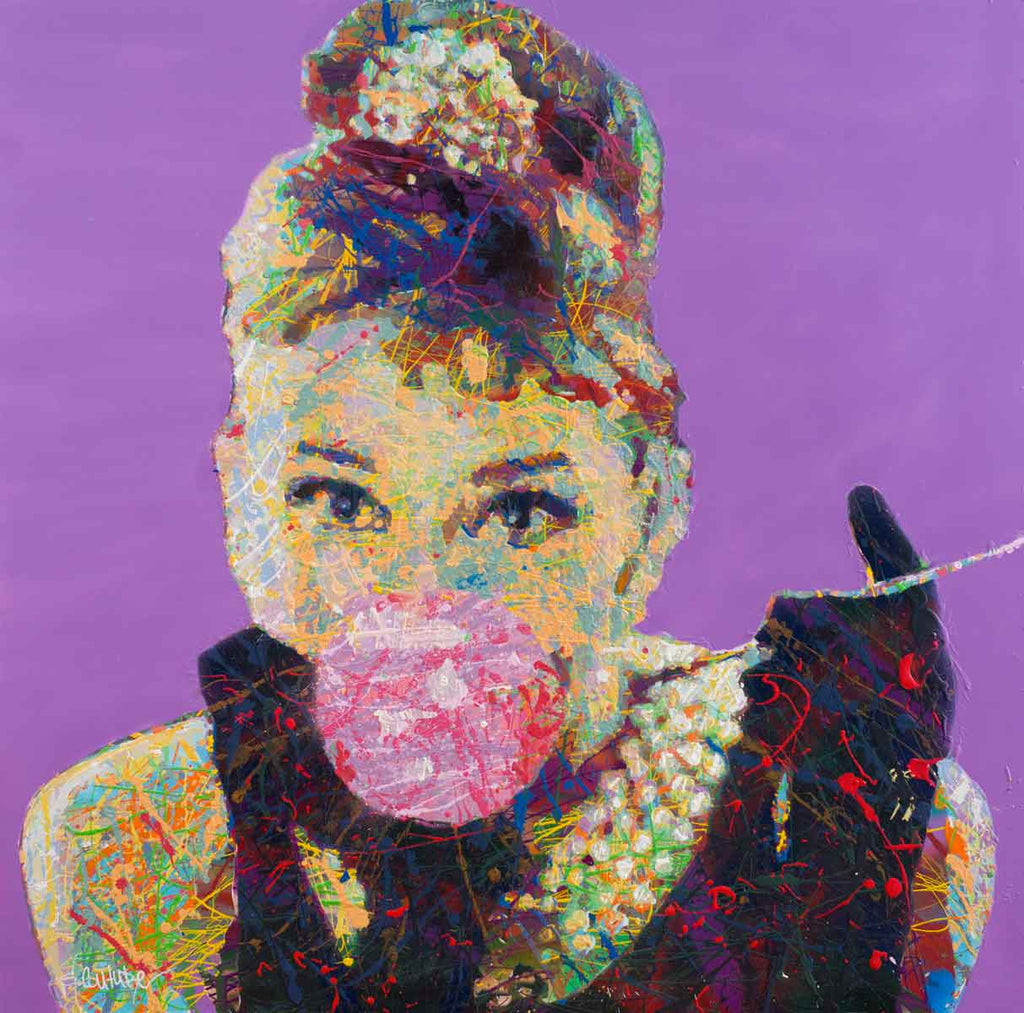 Spencer Couture Limited Edition Bubble Gum Audrey Hepburn Pop Art Canvas Print Large