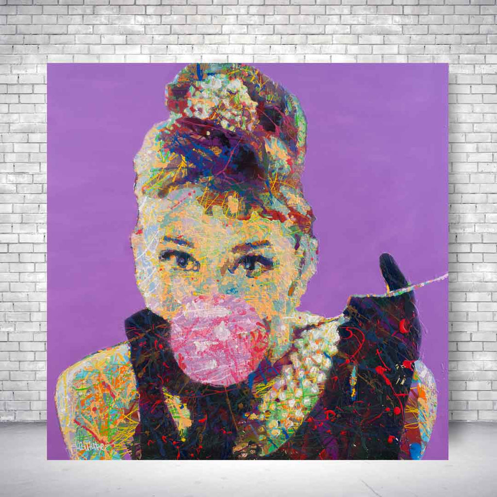 Spencer Couture Limited Edition Bubble Gum Audrey Hepburn Pop Art Canvas Print 24x24