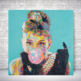 Spencer Couture Limited Edition Bubble Gum Audrey Hepburn Pop Art Canvas Print Teal 36x36