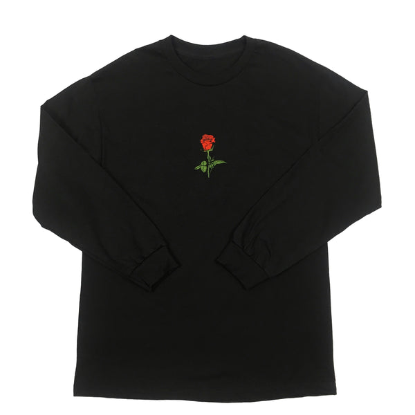 Embroidered Rosebud Long-Sleeve Crew
