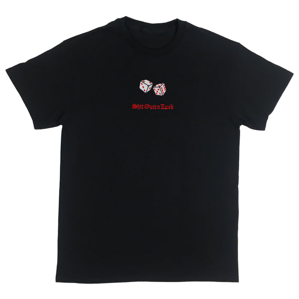 Shit Outta Luck Embroidered Black T-Shirt