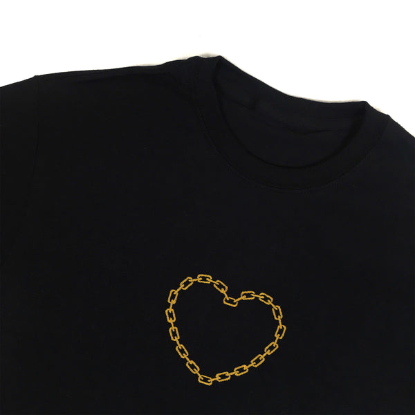Chain Heart Embroidered T-Shirt