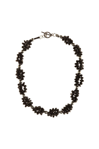 Black Bean Silver Ball Necklac