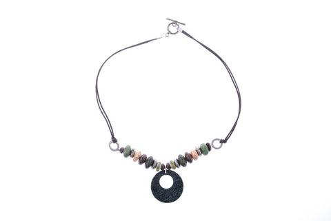 Jade Pendant Leather Necklace