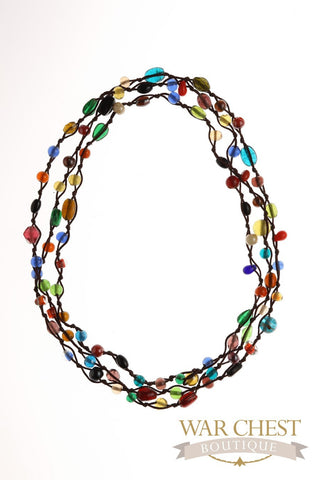 Multi-colored Glass Bead Long Necklace