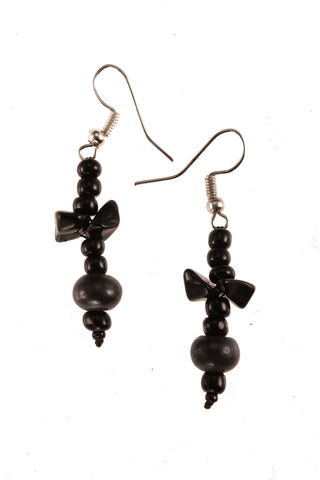 Dangle Earrings with Gray Bead