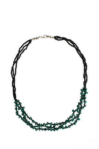 3 Strand Chip Necklace Green