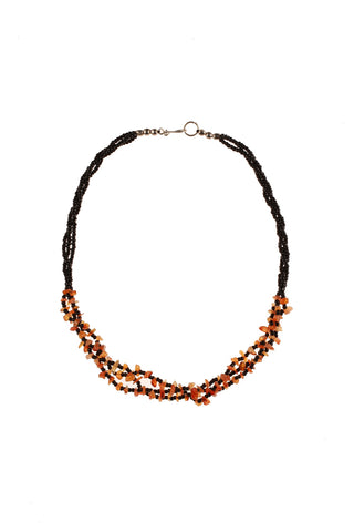 3 Strand Chip Necklace Orange
