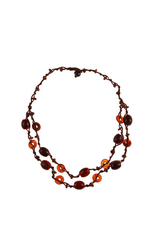 Double Stand Red & Brown Beads