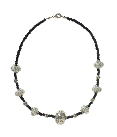 White Amber & Silver Necklace