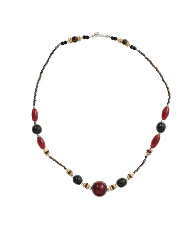 Red Amber, Bone & Horn Necklac