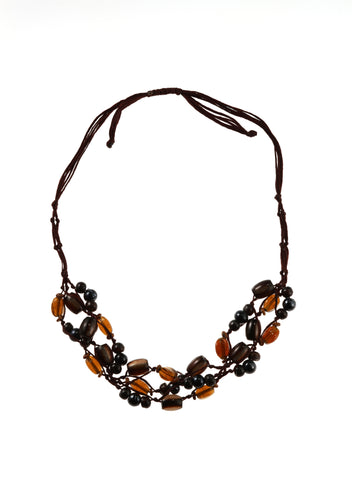 Gray & Brown Rope Weave Necklace