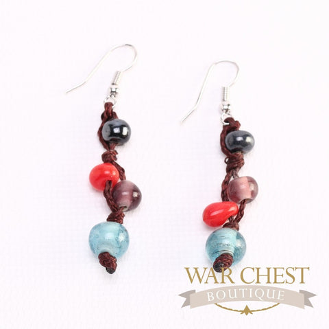 Multi-colored Glass Bead Earrings