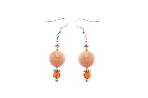 Cream Stone & Crystal Earrings