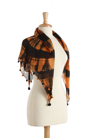Orange & Black Scarf with Pom