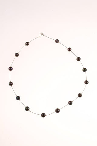 Pearl Spaced Floater Black Necklace